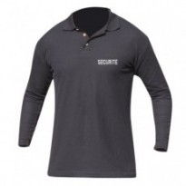 POLO ML BRODE SECURITE VIERGE NOIR