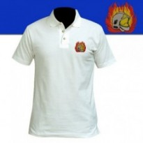 POLO BLANC BRODE SAPEURS POMPIERS FIRE 112