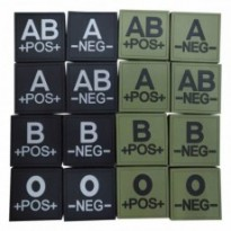 Ecusson silicone groupe sanguin dos auto-agrippant : AB - Noir