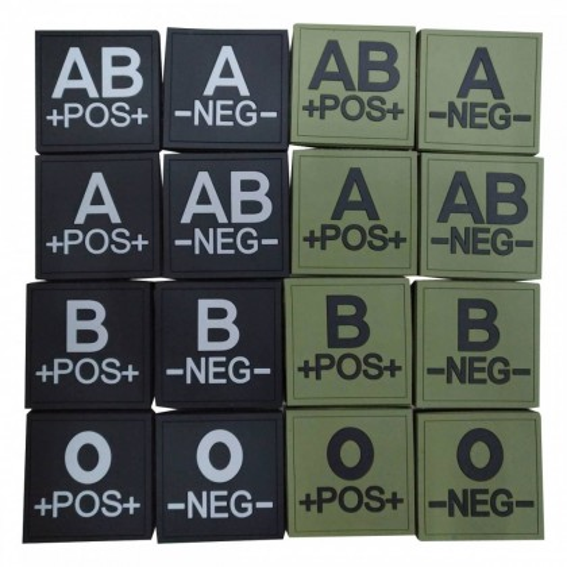 Ecusson silicone groupe sanguin dos auto-agrippant : O + Vert