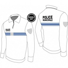 Polo manches longues police municipale Double Soft BLANC