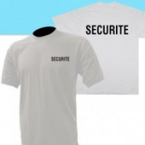 TEE SHIRT BLANC MC IMPRIME SECURITE