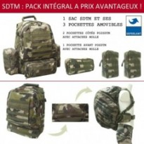 PACK SAC A DOS TACTICAL + 3 POCHETTES : Vert